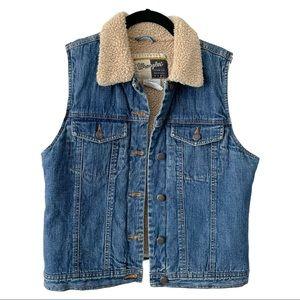 Wrangler Outerwear Sherpa Lined Denim Vest M